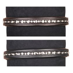 1153 HKM Sarah Leather Browband with Faux Diamonds