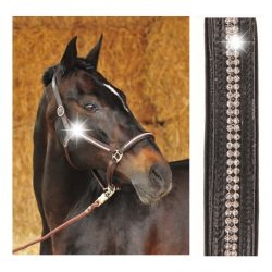 HKM Leather Headcollar with Faux Diamonds