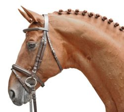 1742 HKM 'Lou' Leather bridle with Grip Reins and Flash Noseband