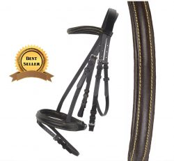 1742 HKM Lou Leather Bridle with Grip Reins and Flash Noseband