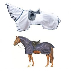 3045 HKM Protection Fly Rug with Neck Cover White Blue