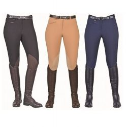 3344/9070 HKM Ladies Classic Breeches with Faux Leather Knee Patch on OFFER
