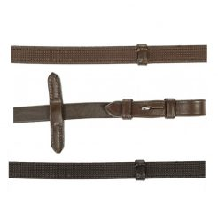 4686 HKM Quality Leather Reins with Rubber Lining