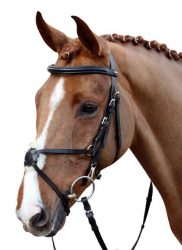 5847 HKM Leather Mexican Grackle Bridle and Continental Reins