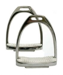 6197 HKM Stainless Steel Stirrup Irons with White Treads - Per Pair
