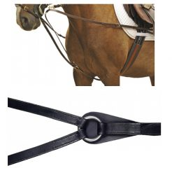 6848 HKM Leather Triangle Draw Reins - Stainless Steel Fittings