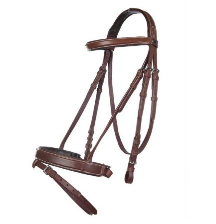 9594 HKM 'Vintage' Padded Leather Bridle Including Anti Sip Reins