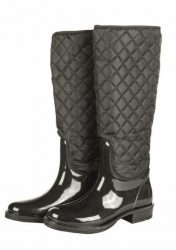5525 HKM Long Black Quilted Lined Patent Wellington Boots