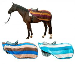 7092 HKM Stripes 3/4 Cutaway Continental Fleece Exercise Sheet Rug