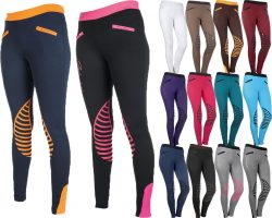 9228 HKM Starlight Pull On Horse Riding Leggings Breeches - Silicone Knee