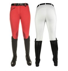 9064 Penny Easy Breeches With Faux Leather Kneepatch red and white