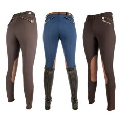 8322 HKM Lauria Garrelli Roma Breeches with Knee Patches and Piping Blue Brown