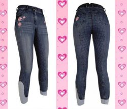 10247 HKM Floral Chic Denim Breeches with Full Silicone Grip Seat