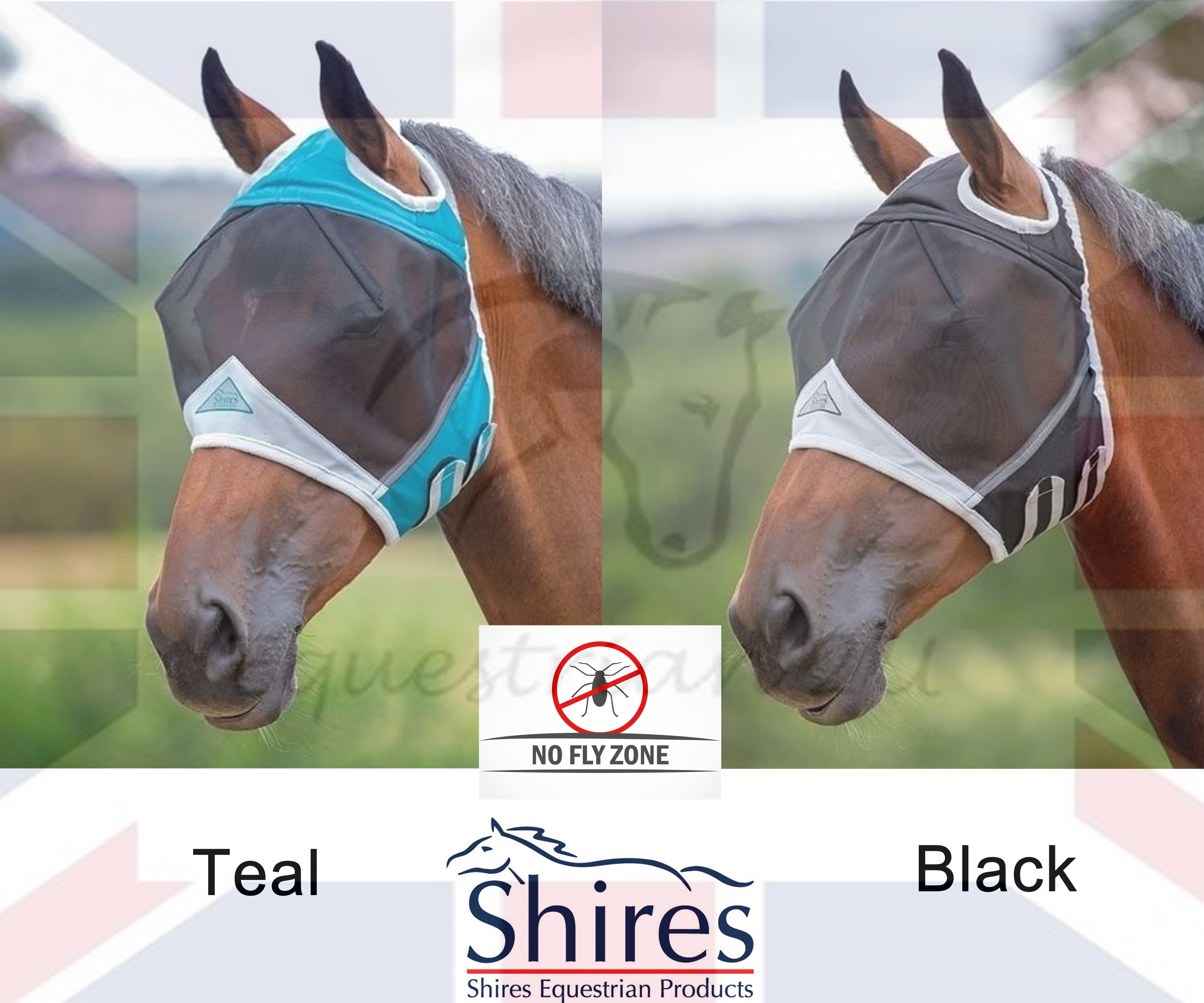 Shires Fine Mesh Fly Mask With Ear Holes /& Nose