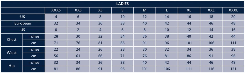 Shires Ladies Size Guide