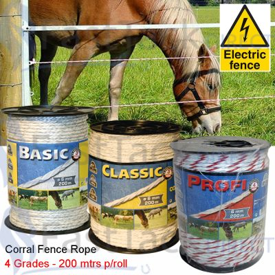 Corral Electric Fencing Rope - 200m Roll (4 Grades)